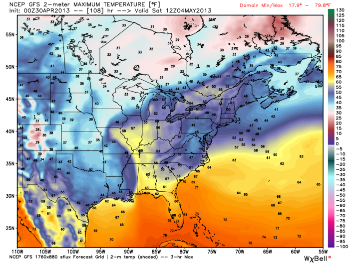 GFS temperature forecast showing a big chill over much of the eastern US on Saturday with highs reaching only into the low 60s over much of Kentucky.