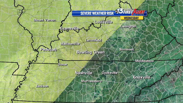 There is a slight risk for severe storms mainly west of I-65 Tuesday night into Wednesday morning.