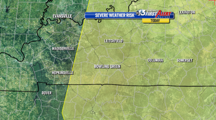 Today's slight risk of severe storms is mainly along and east of I-65.