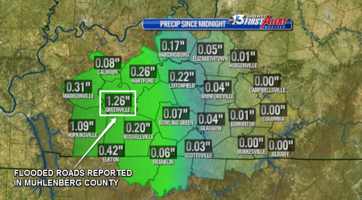 Rainfall totals since midnight at Kentucky Mesonet sites.