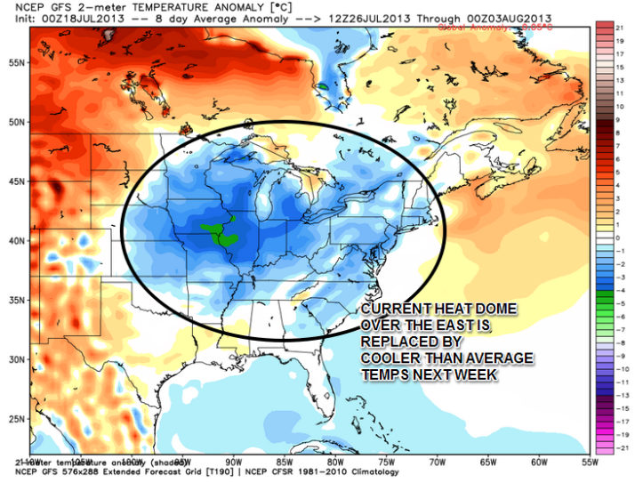 A peek into next week shows a big difference in temperature from what we're feeling this week.