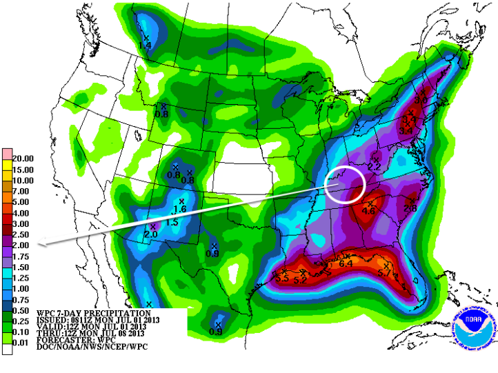 7-day Rainfall Forecast shows parts of the area could receive over 2 inches of rain through the upcoming holiday.