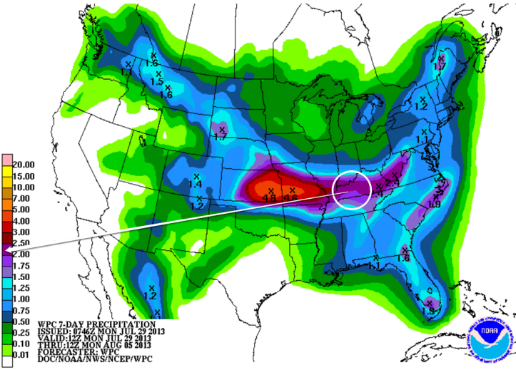 Rainfall forecast for the next 7 days shows a stripe of heavier rain possible right through Kentucky.