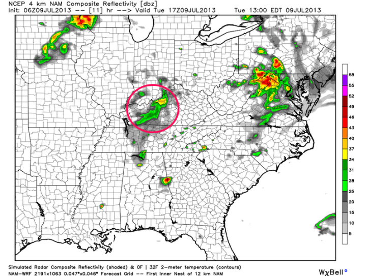 Forecast radar shows showers popping up this afternoon over parts of South Central Kentucky.