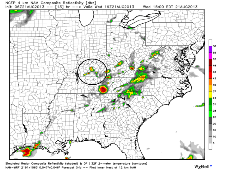 Predictive radar shows more scattered showers and thunderstorms will be possible over Southern Kentucky today.