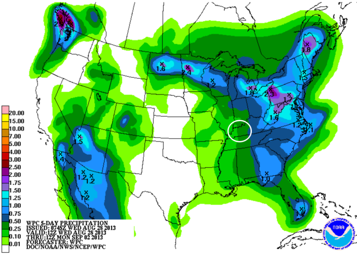 Precipitation forecast through the Labor Day holiday weekend shows some chances for scattered rain showers but not a lot of measurable rain.