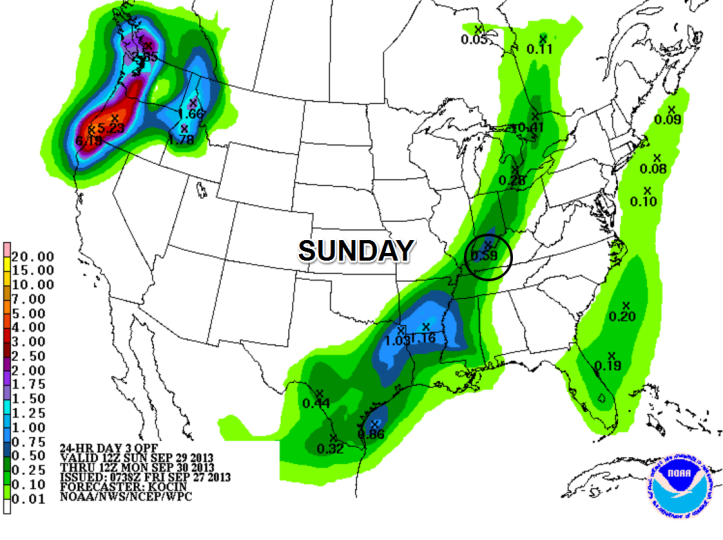 "Rainfall forecast shows anywhere from 0.10-0.20"" rainfall possible as a cold front passes through Sunday afternoon."