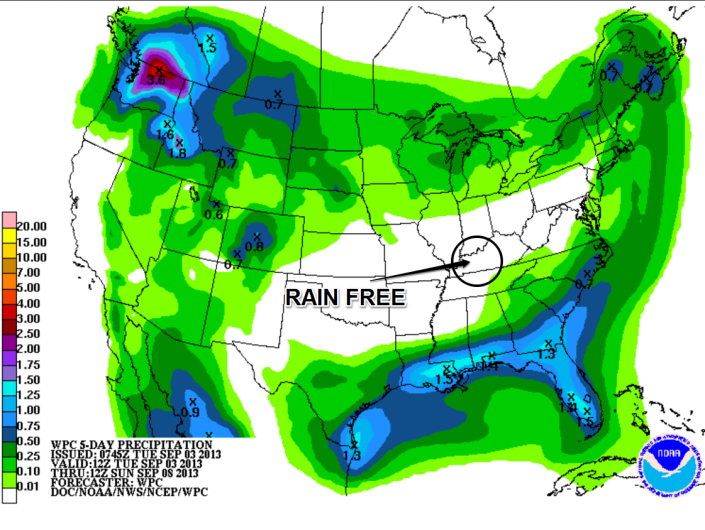 Rainfall forecast shows no rain for Southern Kentucky through the rest of the work week.
