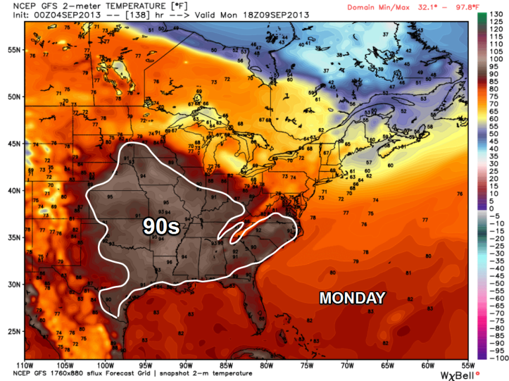 Long range forecast shows 90-degree temps returning by the weekend and into Monday of next week.