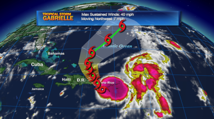 Tropical Storm Gabrielle has formed near Puerto Rico but is forecast to stay far away from the mainland US in the coming days.