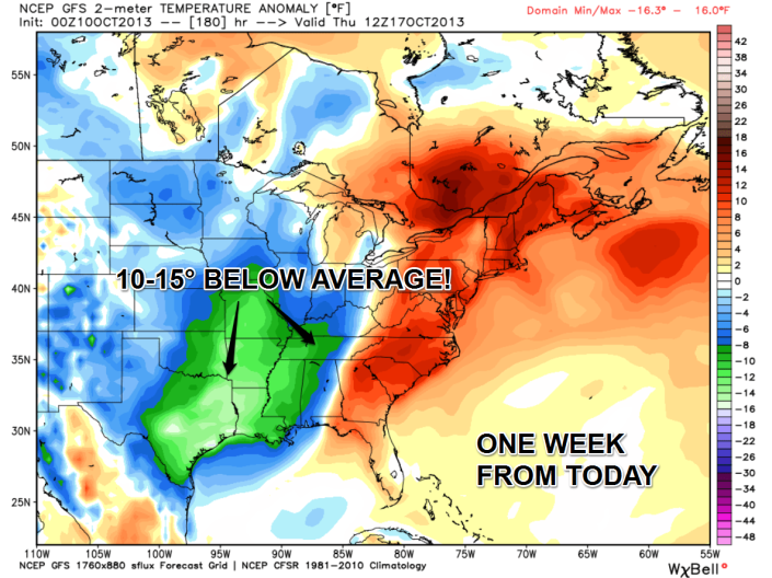 Temperature anomaly (departure from average) forecast shows a significant shot of colder air coming one week from today.