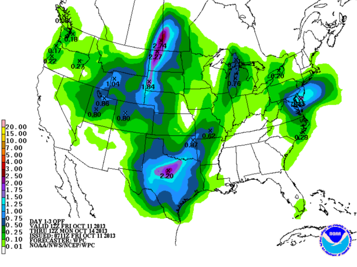 Weekend precipitation forecast shows only a slight chance of an isolated shower Sunday mainly west of Bowling Green.