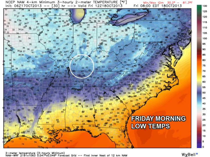 Overnight lows tonight into Friday morning may drop into the low 40s with a few spots possibly into the upper 30s!
