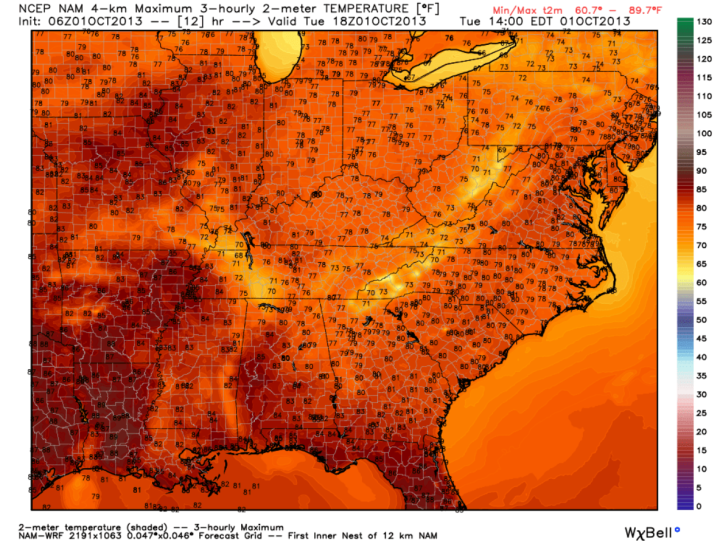 Predicted afternoon temperatures.