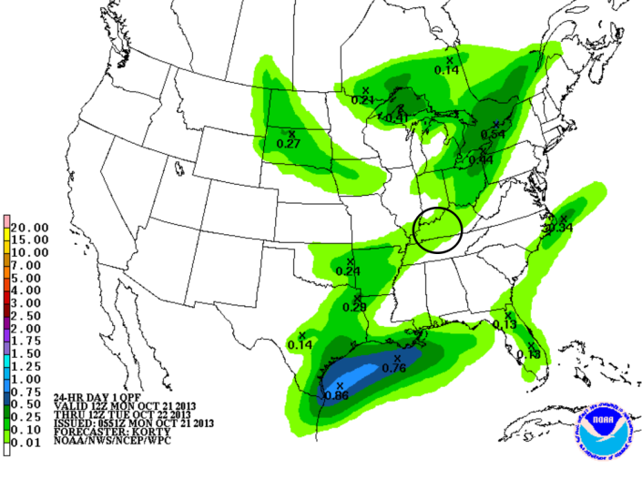 Forecast rainfall tonight/early Tuesday morning show amounts around a tenth of an inch or less.