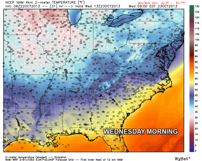 Forecast low temperatures for Wednesday morning show readings in the upper 30s to low 40s.