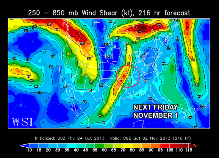 European forecast model showing potential for strong wind shear with an advancing storm system by next Friday.