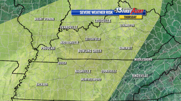 All of the WBKO viewing area is under a slight risk for severe storms Thursday afternoon and evening.
