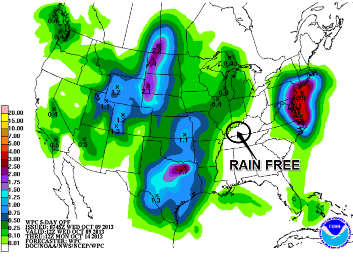 Rainfall forecast shows the WBKO viewing area rain-free through at least Saturday and for much of Sunday.