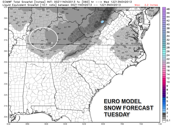 The European forecast model shows light amounts of snow possible tonight mainly in grassy areas.