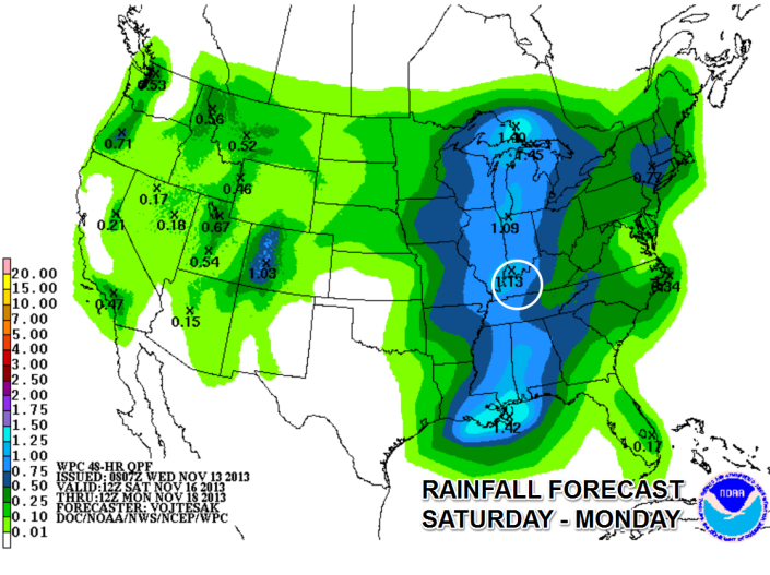 Rain chances return for the weekend with much of the area picking up around an inch of rain.