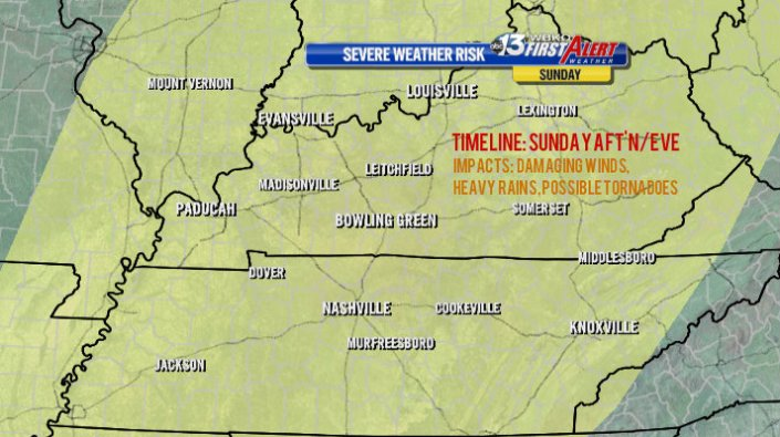 SLIGHT RISK of severe storms covers the entire state of Kentucky for Sunday afternoon and evening.