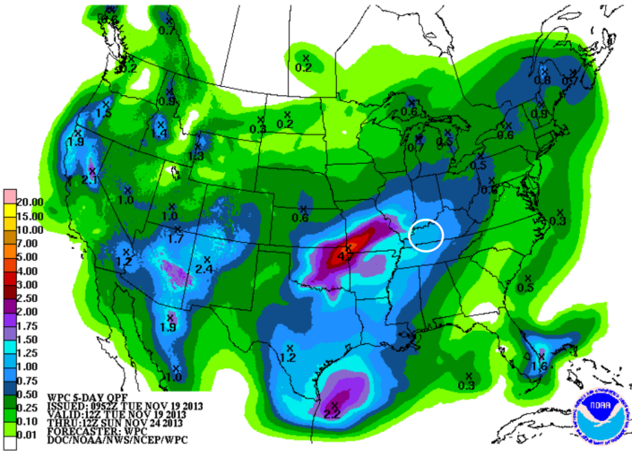 Forecast rainfall the next 5 days show around an inch of rain over the WBKO viewing area is possible.