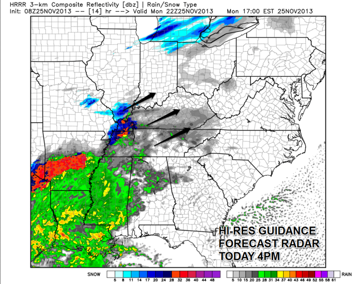 This is a forecast radar projection from the high resolution rapid-refresh guidance.  It shows a large area of light rain changing to or mixing with sleet and snow during the late afternoon and early evening hours heading northeast into Southern Kentucky.