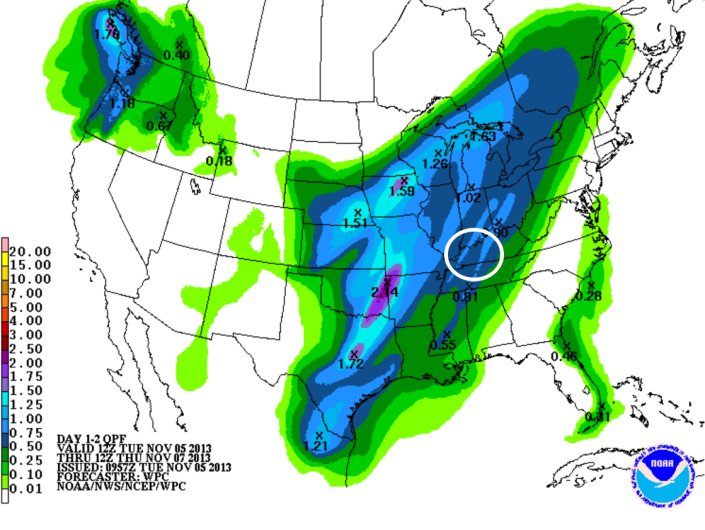 Rainfall forecast shows amounts of a half-inch with some areas picking up close to an inch of rain Wednesday.