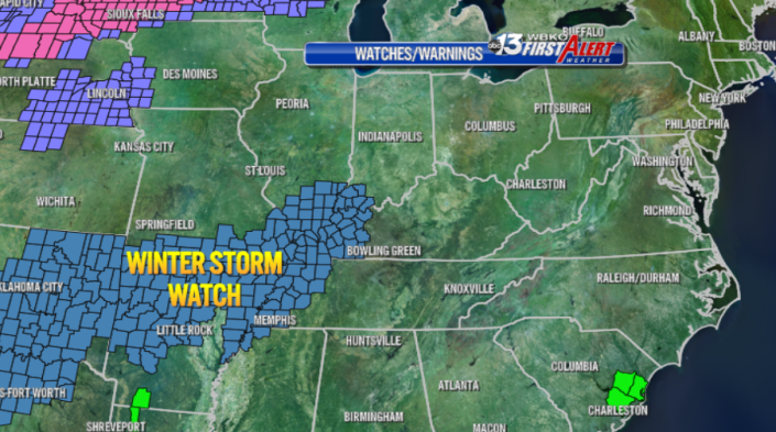 Winter Storm Watches have been posted just to our west, including all of Western Kentucky starting Thursday.