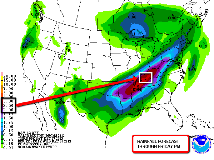 "Projected rainfall through Friday night shows a band of heavy rainfall up to 3"" in parts of Southern Kentucky."
