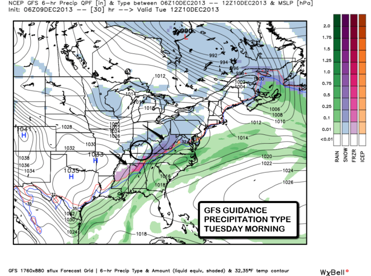 This is GFS guidance showing an upper level disturbance passing through tonight/early Tuesday that may bring a quick hit of snow showers.