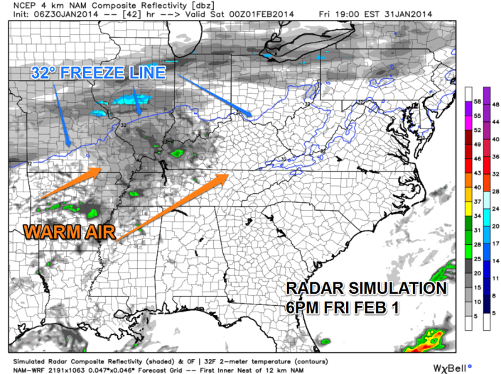 This radar simulation (using the NAM model as guidance) shows only light scattered rain showers by Friday afternoon and evening.  The coldest air will be further north which should keep any frozen precipitation away from Southern Kentucky once the rain begins.