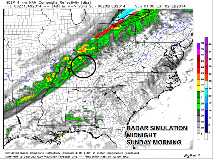 This radar simulation from the NAM model shows the best chance for rain would arrive late Saturday night into early Sunday morning for Southern Kentucky.