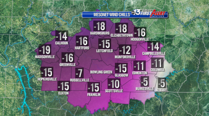 Wind chill temperatures as of 5:15am this morning...the coldest in 20 years!
