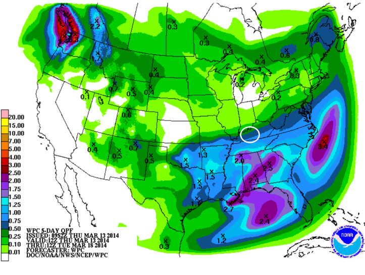"Precipitation forecast through the weekend shows total rainfall around .10-.25"" in most areas of Southern Kentucky.  The bulk of the rain should begin early Sunday morning tapering off Monday morning."