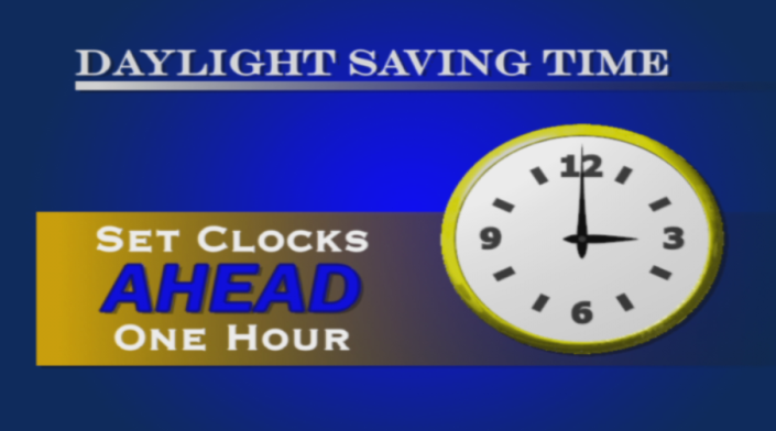 SPRING FORWARD! Don't forget to set your clocks ahead one hour Saturday night before you turn in!