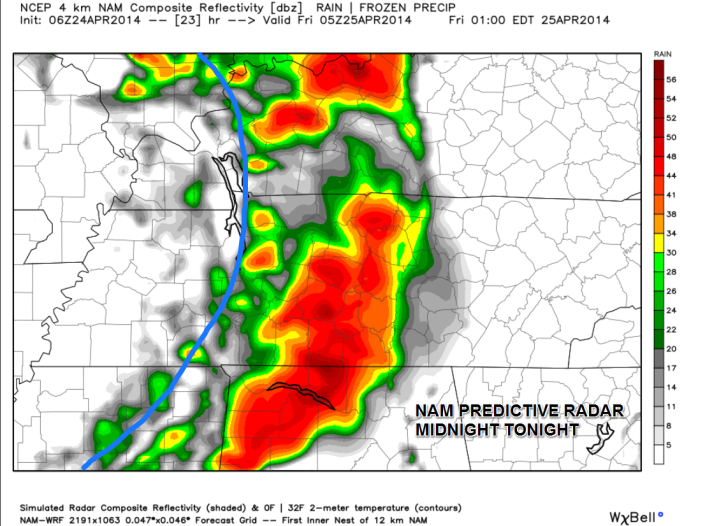 Predictive radar (using the NAM model) shows scattered showers and thunderstorms along a cold front moving through around or after midnight.