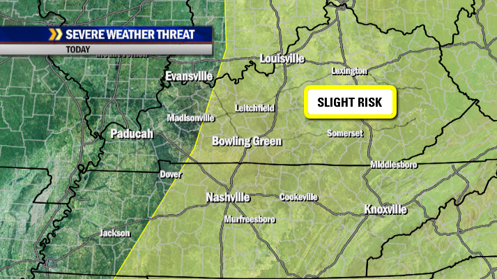 A slight risk of severe storms exists mainly along and east of I-65 later today.