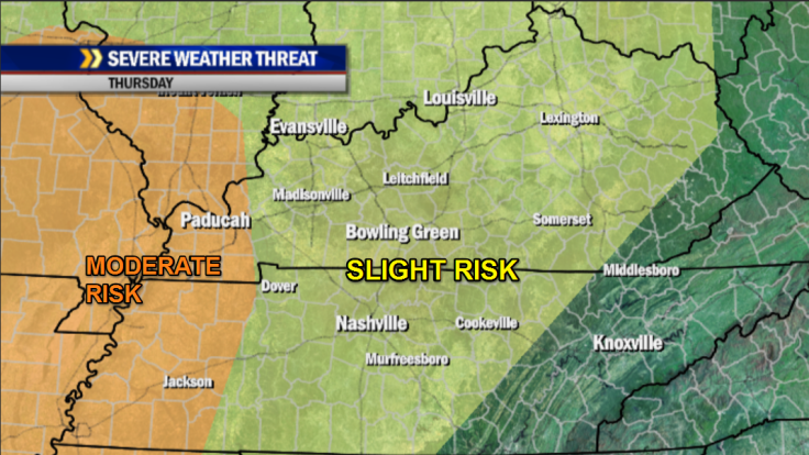 """A slight risk of severe storms exists over all of the WBKO viewing area Thursday.  A greater """"moderate"""" threat exists for far western Kentucky, Southern Illinois, the Missouri bootheel, west Tennessee, NW Mississippi and much of Arkansas."""