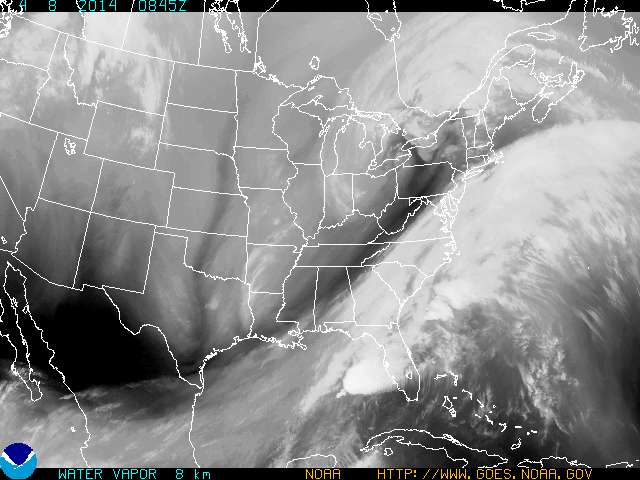 Current water vapor imagery shows another disturbance moving in with moist air which will bring us another chance for showers today.