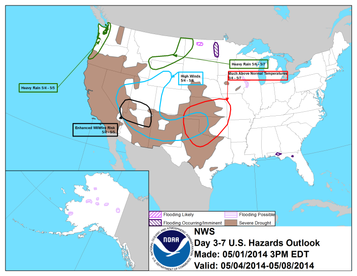 The US Hazards map shows no major severe weather outbreaks or significant changes the next 7 days, especially in the east.