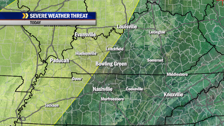 Slight risk of severe storms mainly western Kentucky today.