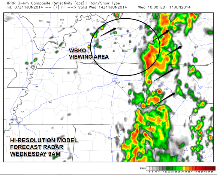Hi-resolution model output shows the best possibility of heavy rain and stronger storms today will be primarily east of I-65.