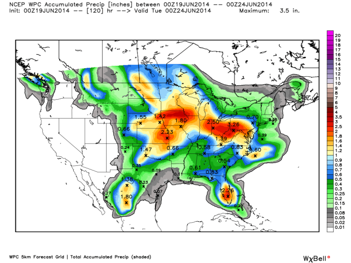 Rainfall forecast shows better chances for heavy rains west and north of our area but scattered showers and thunderstorms will persist during the course of the weekend here in Southern Kentucky.