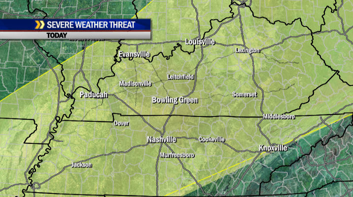 A slight risk for a few severe storms is possible today across the WBKO viewing area as a cold front moves southward.