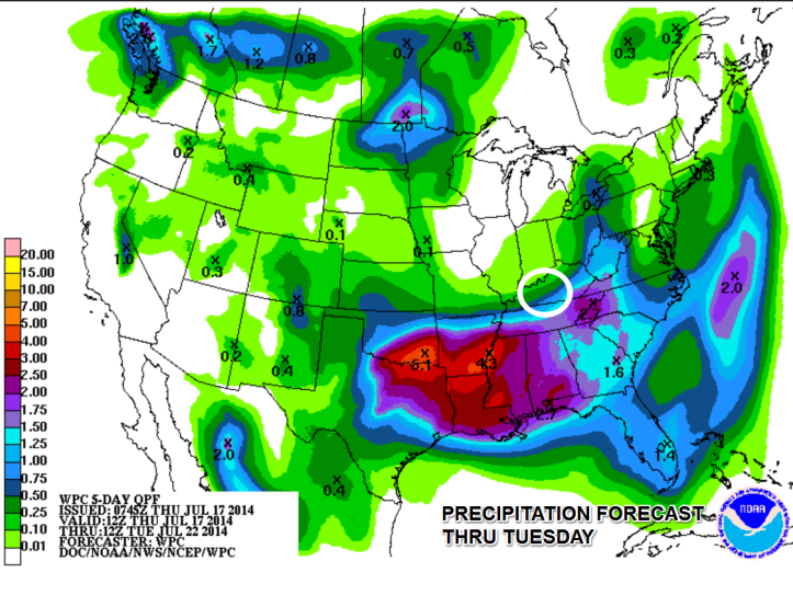 Precipitation forecast shows heaviest rains in the southern Plains and lower Mississippi River Valley with a few showers over Southern Kentucky through the period.