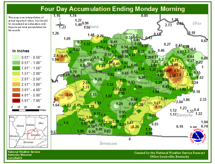 "This map shows the amount of rainfall accumulated over the past four days.  Bowling Green set a new one-day rainfall record for August 11 with 1.54"" which breaks the old record of 1.17"" set in 1948.  Courtesy: National Weather Service Louisville, CoCoRaHS and the Kentucky Mesonet."