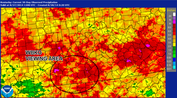 """Observed rainfall for the past 30-days in Kentucky shows some of the heaviest rains over South Central Kentucky.  Bowling Green currently has it's 4th wettest August on record at 8.10"""" with more rain in the forecast that could put us in the top 3 this holiday weekend.  Courtesy: National Weather Service Louisville"""