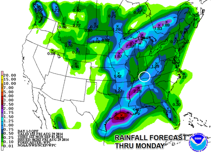 Some locations in the WBKO viewing area could pick up at least an inch of rain (locally more) during the course of the Labor Day weekend.  Courtesy: NOAA